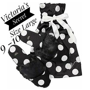 Victoria's secret black polka dot faux fur large
